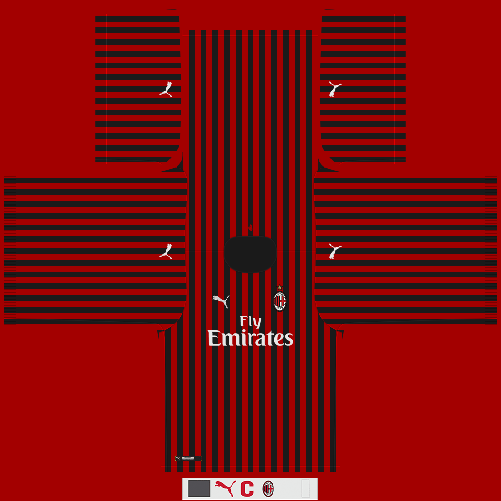 AC Milan Home Kit Kits AC Milan 2019 2020