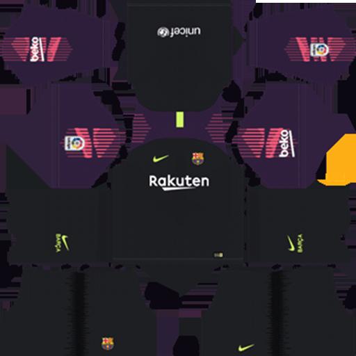 Barcelona 2018 19 Goalkeeper Away Kit Dream League Soccer DLS Kits DLS FC Barcelona Kits 038 Logos 2019 2020