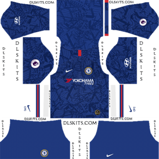 Chelsea FC Home 2019 2020 Kit DLS 19 Kits Dream League Soccer DLS Chelsea Kits 038 Logos 2019 2020