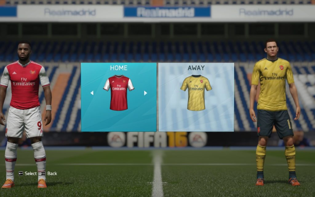 FIFA 16 Arsenal Home and Away Kits