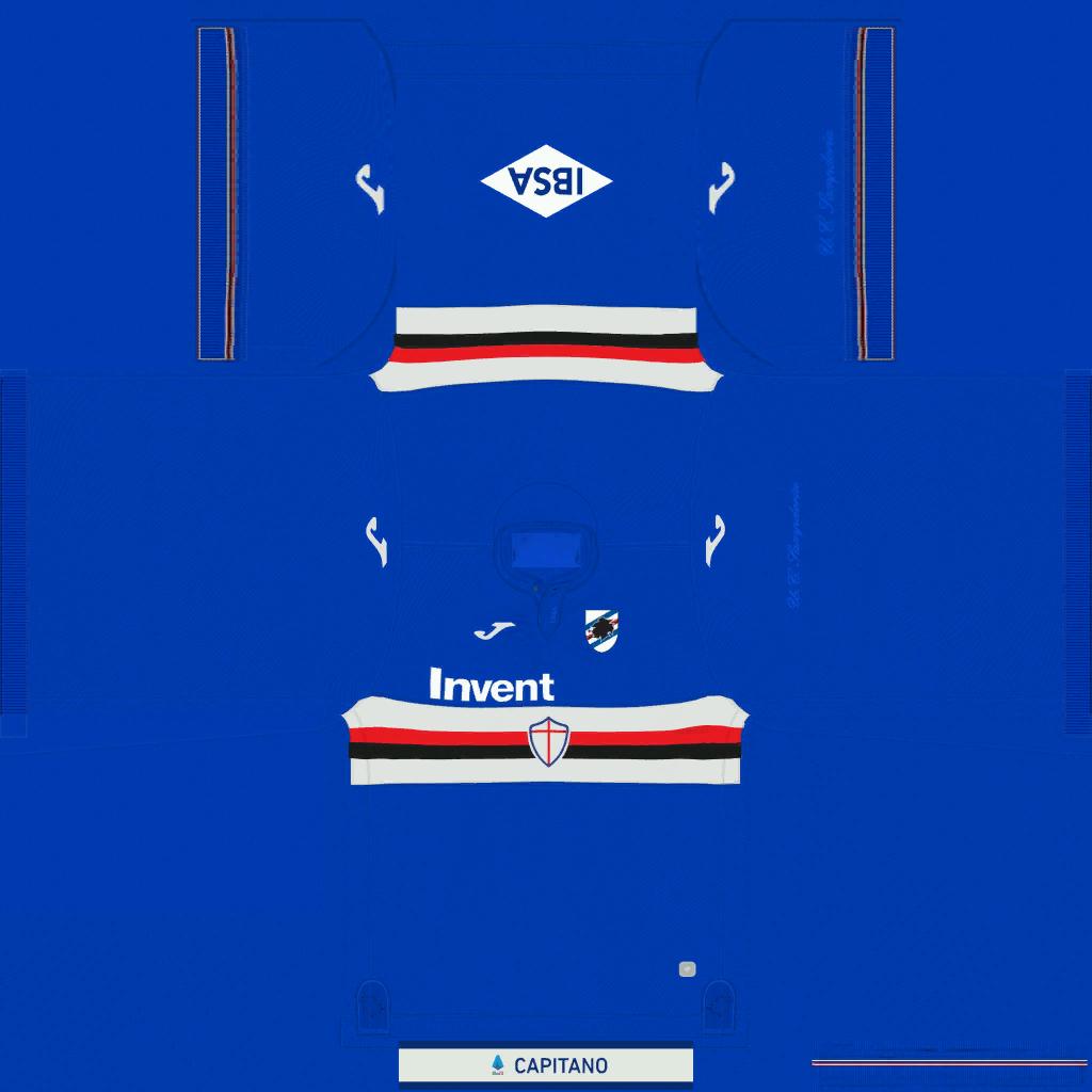 Sampdoria Home Kit Kits Sampdoria 2019 2020