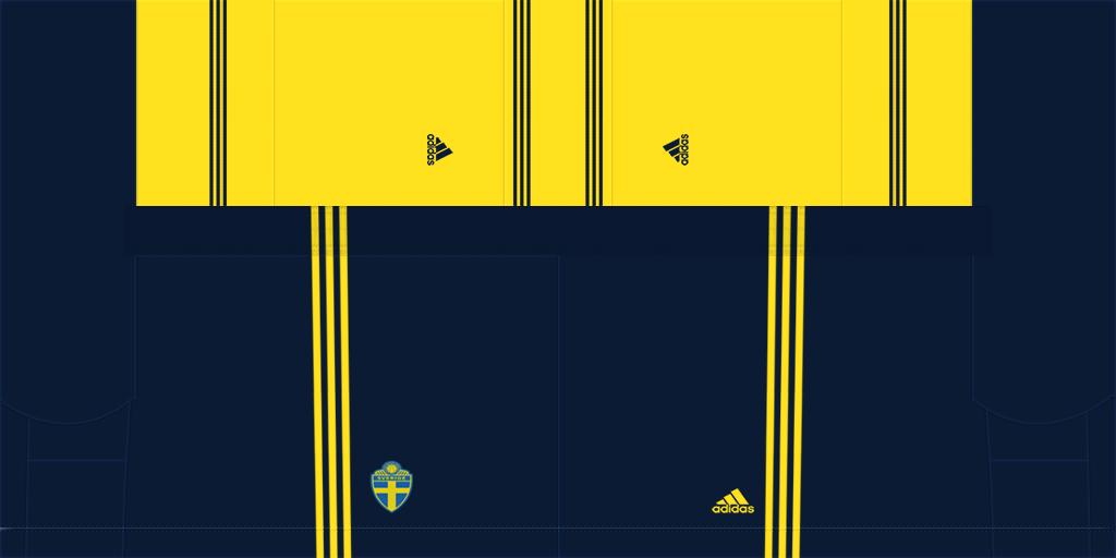 Sweden Home Shorts Kits 8211 Sweden National Team 8211 Euro 2020